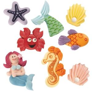 Meerjungfrau-Set aus Zucker farbig sortiert, 16 Stück