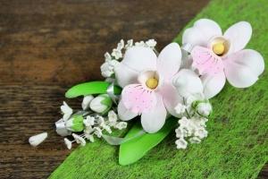 Zucker-Orchidee rosa mit Sprenkel, 15 cm