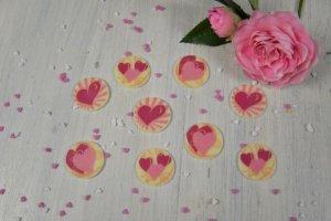 Herzen -Romantik- weiße Schokoladen-Aufleger, 24 Stück