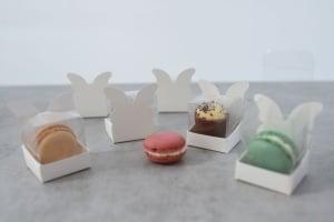Geschenkbox weiß für einen Macaron 4x4x6 cm, 24 Stück