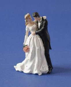 Brautpaar mit rosa Brautstrauß ca. 13 cm