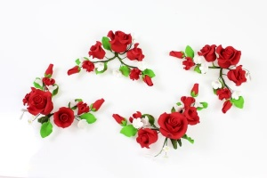 Zucker-Rosen rot, 4 Stück á 13 cm