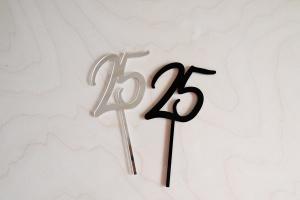 """Cake Topper """"25"""", schwarz, Acryl, 75x75 mm"""