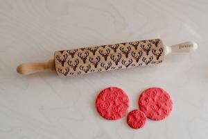 Teigroller mit Muster, Hirsche, 43x5 cm