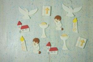 Kommunion-Set Junge, Zucker-Aufleger, 12 Stück