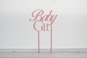 Cake Topper Baby Girl, 9 cm hoch, rosa