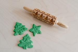 Teigroller mit Muster, Weihnachten, 23x4,5 cm