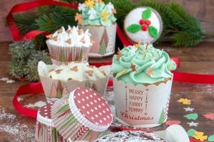 Cupcake Förmchen Yummy Christmas, Papier, 12 Stk., Ø 6 cm