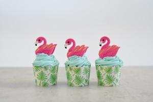 Cupcake Kit Flamingo, Muffinform + Zuckerdeko für 6 Cupcakes