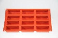 Riegel Backform für 12 Mini-Kuchen 8 x 3 cm  Silikon