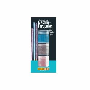 Puderfarbe, metallic blau/flieder/pink, 3-teiliges Set, 6 g