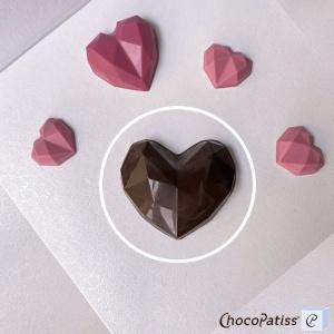 Schokoladenform Diamantherz, M, 8x8,5x2,5 cm