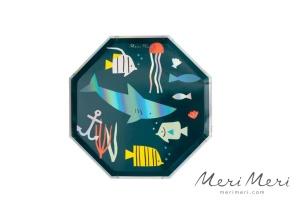 Meri Meri Pappteller Unterwasser, 8 Stk.,  Ø 21 cm