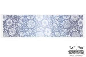 Tischläufer, Blumen blau, 100 % Bio Baumwolle, 35x120 cm