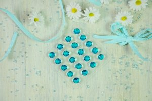 Diamanten -blau- aus Gelatine, 20 Stck.