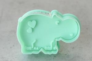 Ausstecher Nilpferd mit Prägestempel, Kunststoff, 6 cm