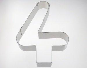 Zahlen-Backrahmen Ziffer -4-  Edelstahl