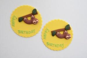 Tortenaufleger rund, Happy Birthday mit Faultier, Fondant