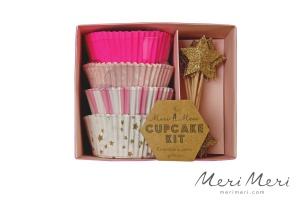 Meri Meri Cupcake Kit Sterne, Muffinform + Deko