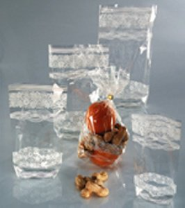 Gebäcktüten mit weißem Spitzendruck, 19 x 11,5 cm, 10 Stück