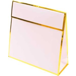 Geschenktüte, Papier, rosa/gold, 17x17x6 cm
