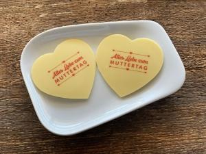 Tortenaufleger Herz, Alles Liebe zum Muttertag, weiß, 2 Stk.
