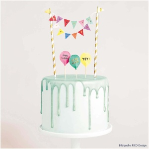 Cake Topper Happy Birthday, 1 Girlande, 5 Picker, H 19,5cm