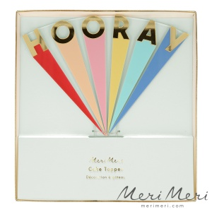 Meri Meri Cake Topper Hooray, bunt, Acryl, ca. 17,5x18 cm