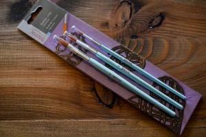 Pinsel zur Tortendekoration, 3 Stück, 2+6mm rund, 12mm flach