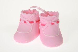 Babyschuhe rosa aus Zucker  6 x 3,5 cm   -   ausverkauft