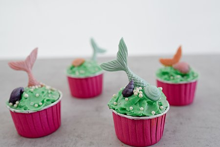 Grüne Muschel-Cupcakes