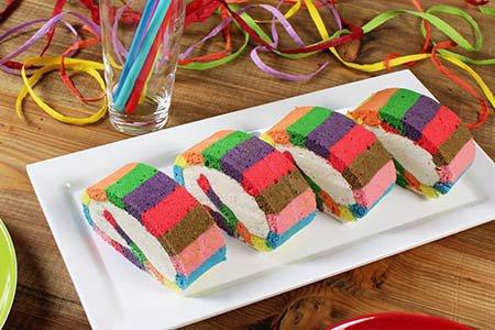Biskuitrolle Regenbogen bunt